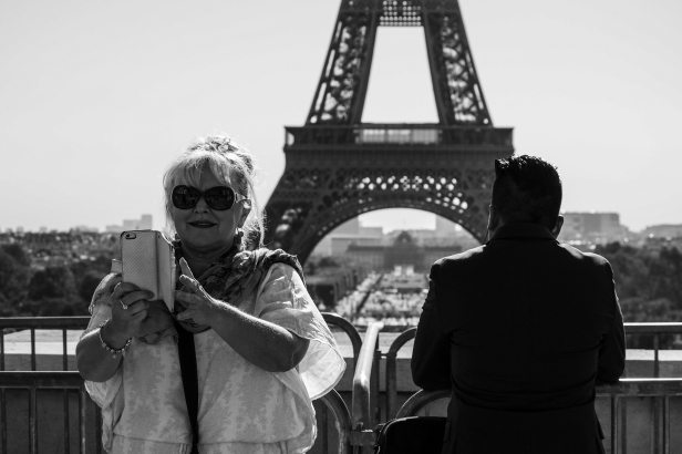 Eiffel Tower - woman doing selfie