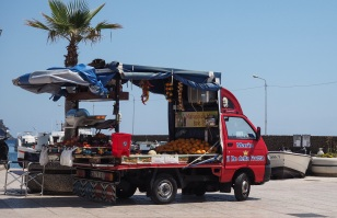 Everywhere you go in Sicily you see these little vans selling fruit and veg. This one was on the island of Lipari.