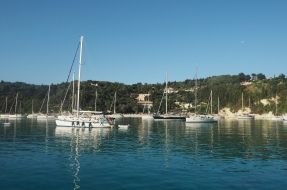 The view from our boat on Lakka Bay